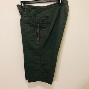 CATO Women's Capris Pants Cotton Army Style Green